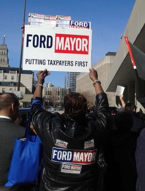 "Another Ford supporter, Jennifer Broomes, led the crowd throughout the day in chanting ""Rob Ford, mayor for life."""