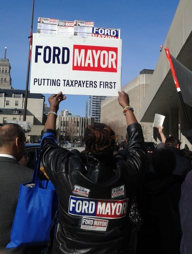 """Another Ford supporter, Jennifer Broomes, led the crowd throughout the day in chanting """"Rob Ford, mayor for life."""""""